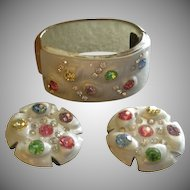 Vintage Amber & MOP Lucite w/Colored Rhinestones Hinged Cuff Bracelet & Clip Earrings Set