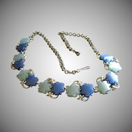 Vintage Thermoset Plastic Light & Medium Blue Six-Pointed Star Cabochon & Silver-Tone Necklace
