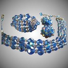 """Laguna"" Blue Cut Crystal & Lucite Bead Triple-Strand Necklace, Bracelet & Earrings Parure"