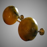 Vintage Bakelite Butterscotch, Blue & Green Marbleized Earrings