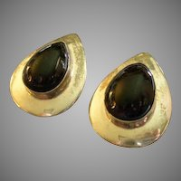 Mexican Modernist Sterling Silver & Onyx Tear Drop Pierced-Style Earrings
