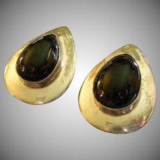 Mexican Modernist Sterling Silver & Onyx Tear Drop Pierced-Style Earrings