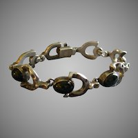 "Mexican Modernist Sterling & Onyx ""Horse-Shoe"" Link Bracelet"