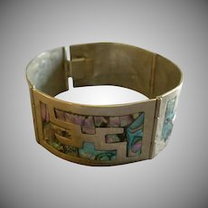 Mexican Modernist Alpaca & Abalone Inlay Link Bracelet