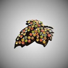 """Weiss"" Black Enamel & Pastel Colored Rhinestones Leaf-Shaped Brooch"