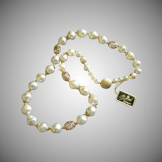 """Garne"" Faux Baroque Pearl & Gold-Tone Filigree Bead Necklace"