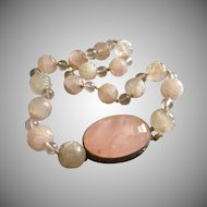 Hallmarked Chinese Silver & Carved Rose Quartz Necklace