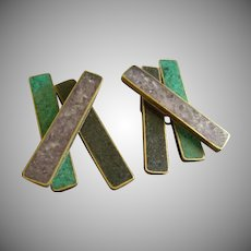 """Celia Sebiri"" Vintage Crossbar Style Clip Earrings w/Adventurine, Amethyst & Onyx Inlay"
