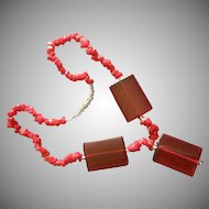 Vintage Silver-Tone,  Red & Clear Lucite & Bakelite Necklace