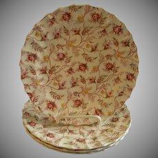 "Set of 4 Copeland Spode ""Rosebud Chintz"" Pattern Luncheon Plates"