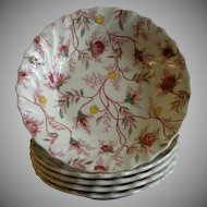 "Set of 5 Copeland Spode ""Rose Chintz""Pattern Fruit/Sauce Bowls"