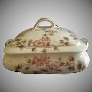 CFH/GDM Limoges Square Covered Vegetable Tureen w/Passion Flower Blossoms & Vines Motif