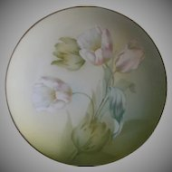 R. S. Germany (Blue Mark) Cabinet Plate w/White/Pink Tulips Decoration