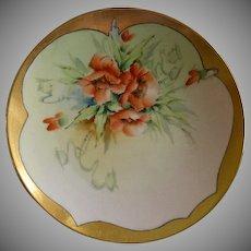 Bavaria Porcelain Hand Painted Cabinet Plate w/California Poppy Motif