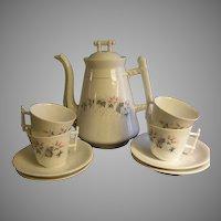 C Tielsch Floral Decorated Coffee Pot & 4 Cups/Saucers Set