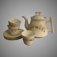 C Tielsch Floral Decorated Tea Pot & 3 Cups/Saucers Set
