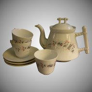 C Tielsch Floral Decorated Tea Pot & 3 Cups/Saucers Set