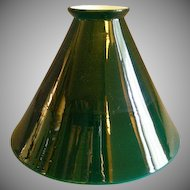 Emerald Green Cased White Glass Cone-Shape Lamp Shade