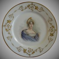 "Charles Haviland & Co. Hand Painted Portrait Plate ""Letizia Ramolino"" - Mother of Napolean"