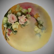 D'Arcy Studio Hand Painted Cabinet Plate w/PInk & Yellow Tea Roses Motif