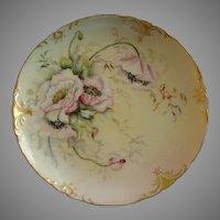 Jean Pouyat (JPL) Limoges Hand Painted Cabinet Plate w/Shaded Pink Poppy Flower Motif