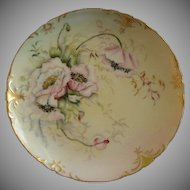 Jean Pouyat (JPL) Limoges Hand Painted Cabinet Plate w/Shaded Pink Poppy Flower Motif