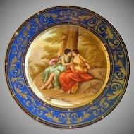 1880-1890 Royal Vienna Style H.P. Portrait Plate 'Jupiter & Calisto' - Signed A. Heine