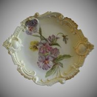 Leonard Vienna Austria Hand Painted Rococo Cabinet Plate w/Pansy Blossoms Motif