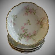 "Set of 4 Charles Haviland & Co., Limoges ""Wild Rose Motif"" Fruit/Sauce Dishes, Schleiger 29A, Blank 2"