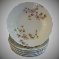 CFH/GDM Limoges Set of 6 Fruit/Sauce Bowls w/Passion Flower Blossoms & Vines Motif