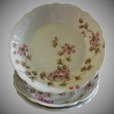 CFH/GDM Limoges Set of 3 Large Fruit/Condiment Bowls w/Passion Flower Blossoms & Vines Motif