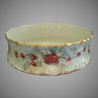 T&V Limoges Hand Painted Pudding Bowl/Ferner w/Red Ripe Cherry Motif