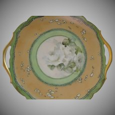 T&V Limoges Hand Painted Serving Plate w/White Rose Blossom Motif