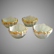 Set of 4 Porcelain Hand Painted Individual Salt Dishes