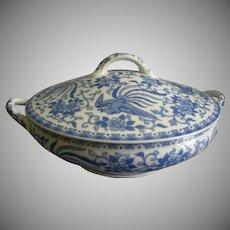 Noritake Blue & White Porcelain 'Howo' Pattern Covered Vegetable Tureen