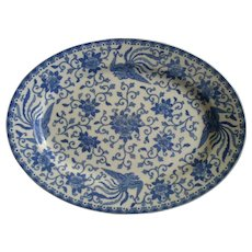 Noritake Blue & White Porcelain 'Howo' Pattern Oval Serving Platter