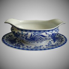 Noritake Blue & White Porcelain 'Howo' Pattern Gravy Boat w/Attached Underplate