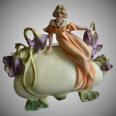 Art Nouveau Style Bisque Pillow Vase w/Figural Lady & Floral Decoration