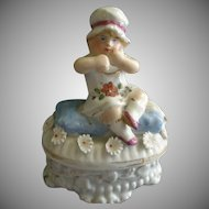 Victorian Fairings Ring Box w/Girl Child Figural Lid