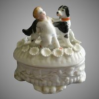 Victorian Fairings Ring Box w/Young Boy & His Dog Figural Lid