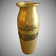 "Smith Metal Art Co ""SilverCrest"" Bronze & Sterling Silver Vase - Gold Dore Finish"