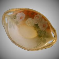 R.S. Germany (Blue Mark) Oval Footed Sauce Bowl w/Roses Decoration