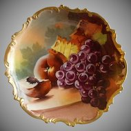 Lazeyras, Rosenfeld & Lehman (L R L) Limoges Fruit Motif Plate w/Grapes, Peaches & Fall Foliage