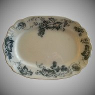 "Alfred Meakin Blue Transfer ""Bramble' Pattern Oval Platter w/Blackberries & Poppies Motif"