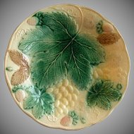 Victorian Majolica Plate w/Grapes, Strawberries & Floral Motif