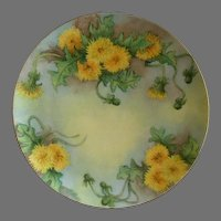 Charles Haviland & Co., Limoges Hand Painted Cabinet Plate w/Dandelion Flowers Decoration