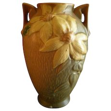 "Roseville Pottery ""Clematis"" Vase w/Handles - #110-9"
