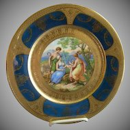 Royal Vienna Style Transfer & H.P. Cabinet Plate w/Cobalt & Gold Encrusted Border (Plate 1 of 6)