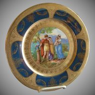 Royal Vienna Style Transfer & H.P. Cabinet Plate w/Cobalt & Gold Encrusted Border (Plate 6 of 6)