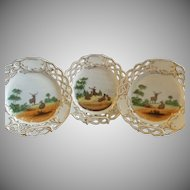Set of 3 Porcelain Game Plates w/Transfer Motif of Deer in a Meadow